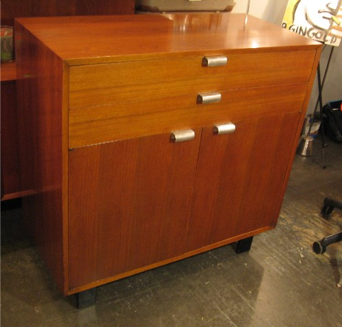 George Nelson 2 Drawer Over 2 Door Walnut Cabinet