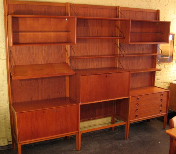 Freestanding Norwegian Teak Wall Unit