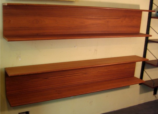 Pair of Teak I Beam Style Shelves