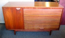 Jens Risom Walnut Credenza with Tambour Door