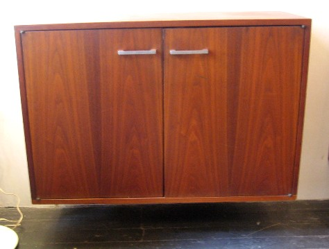 Pair of Shallow Walnut Wall Mounting Cabinets