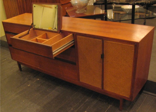 Mahogany Six Drawer Dresser with Caned Cabinet