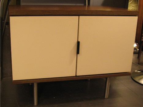 Oak and Lacquered Wood Small T.V. Cabinet