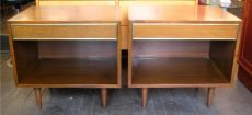 Harvey Probber Mahogany & Brass Nightstands