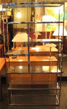 Large Chrome and Glass Etagere
