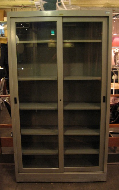 Large Industrial Metal and Glass Sliding Door Cabinet