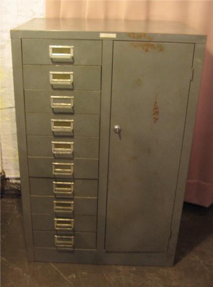 Gun Metal Gray 10 Drawer 1 Door Industrial Cabinet