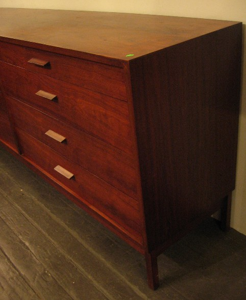 Long Walnut Double Dresser with Knife Edge Pulls