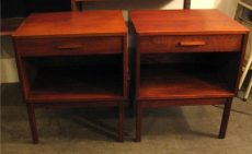 Pair of Walnut Bedside Tables with Knife Edge Pulls