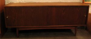 Long Low Walnut Credenza with Sliding Doors