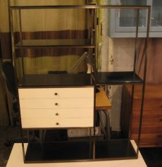 Paul McCobb Brass and Lacquered Walnut Etagere