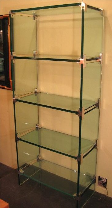 Glass and Aluminum Etagere
