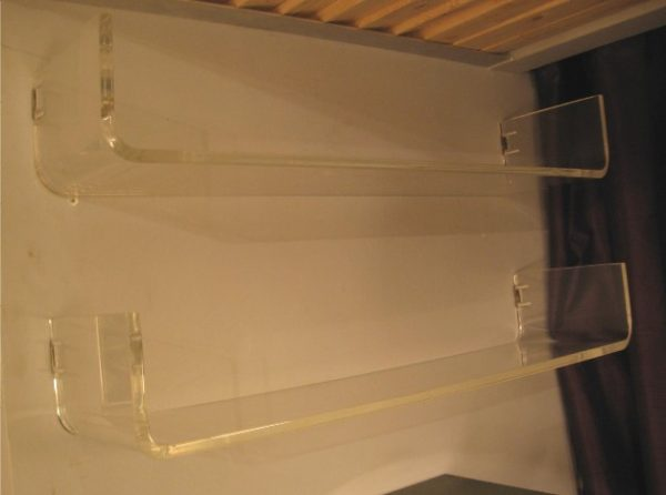 Pair Of Lucite Wall Shelves