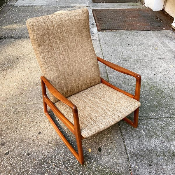 Danish Teak High Back Rocking Chair by Ole Wanscher