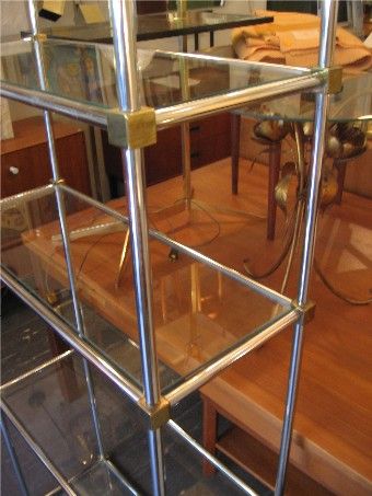 Pair of Chrome, Brass & Glass Etageres in the Style of Maison Jansen