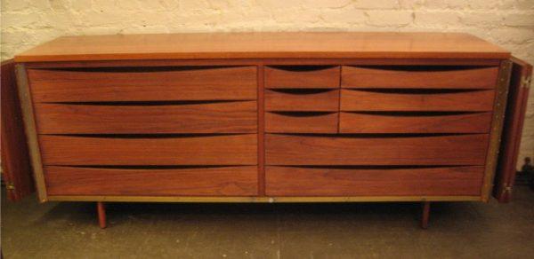 Paul McCobb Tri-Fold Black Walnut Cabinet