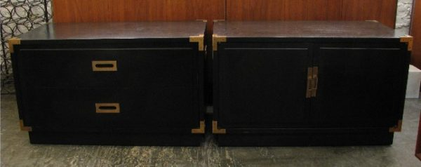 Pair of Ebonized Campaign Style Cabinets from the 1970s