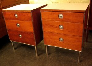 Pair of 1960's Cherry and Aluminum Nightstands