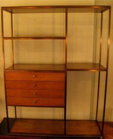 Paul McCobb Brass and Mahogany Room Divider