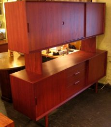 Large Danish Teak Credenza w/ Floating China Hutch Room Divider