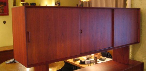 Large Danish Teak Credenza w/ Floating China Hutch Room Divider