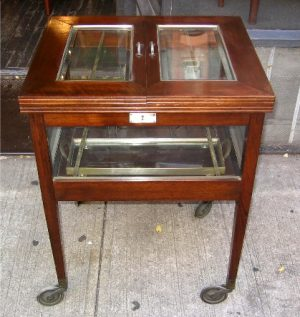 Mahogany,Beveled Glass and Sterling Plate Tea Cart
