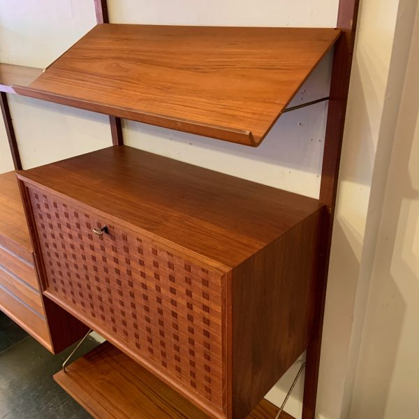 Two Bay Royal Wall System in Teak by Poul Cadovius