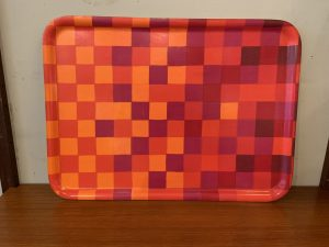 Ab Ary-Nybro Modern Check Laminated Fabric Wood Tray from Sweden