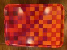 1960s Ab Ary-Nybro Checkered Laminated Fabric & Wood Tray