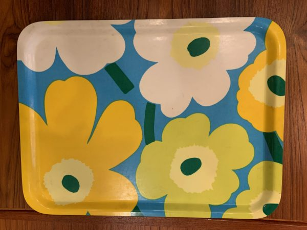 "Marimekko Laminated fabric and Wood ""Flower"" Tray"