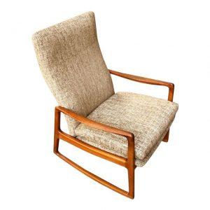 Danish Teak High Back Rocking Chair by Ole Wanscher