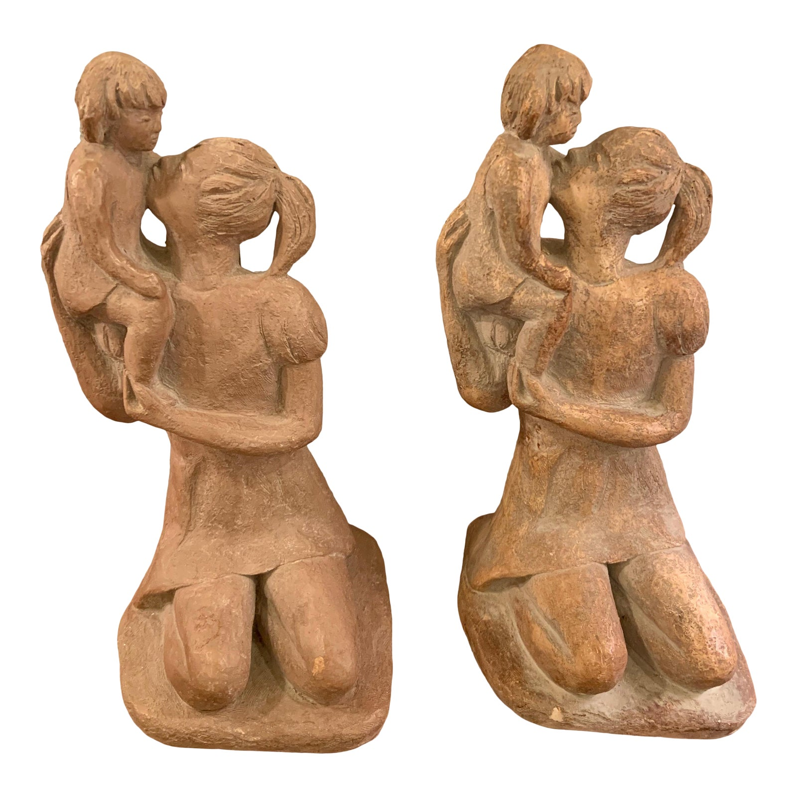 Austin Productions Mother Holding Daughter Sculptures a Pair