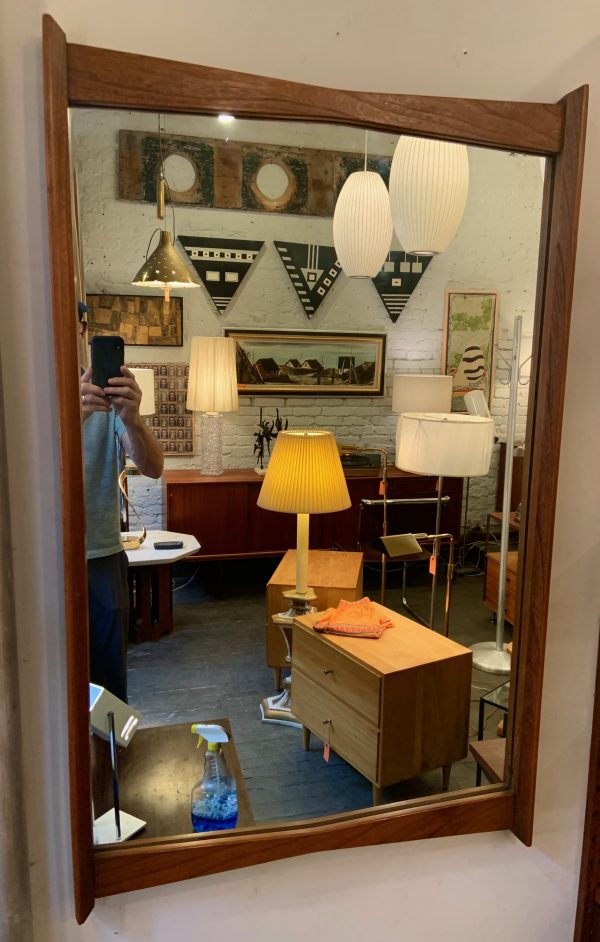 Walnut Decorative Mirror From the 1960s