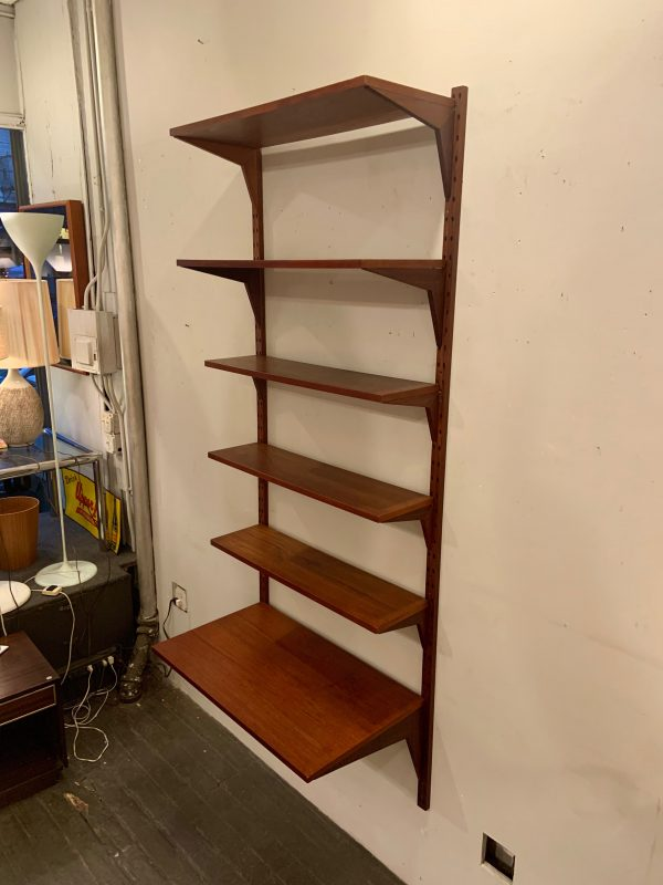 Single Bay Cado Wall System Shelving Unit in Teak
