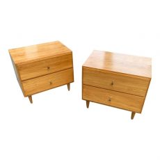 Two Drawer Maple Night Stands After Paul McCobb a Pair