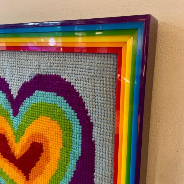 Rainbow Heart Needlepoint in Amazing Plexi Frame