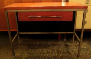 1950s Steel Frame Table with Drawer