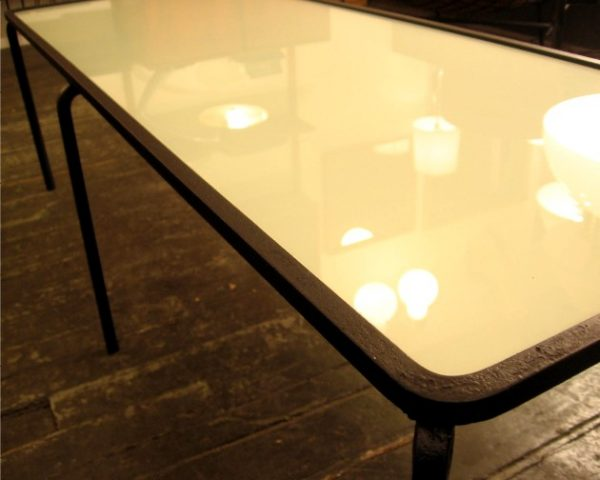 1950s Iron and Glass Coffee Table