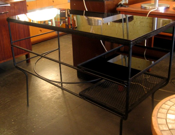 1950s Iron and Glass Desk
