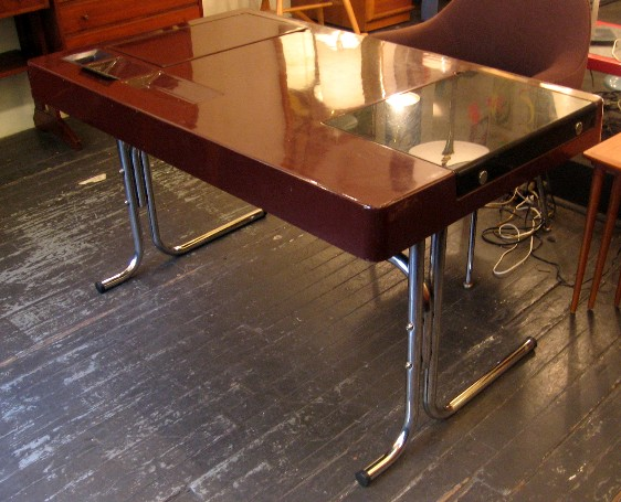 1970s Chrome and Fiberglass Desk by George Beylerian