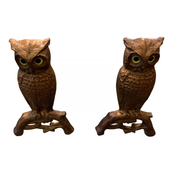 Set of Glass Eyed Owl Andirons by Howes circa 1900