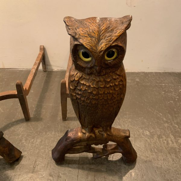 Set of 1900 Glass Eyed Owl Andirons by Howes