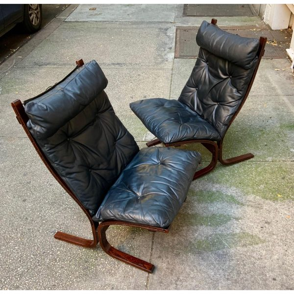 1960s Bentwood Leather Lounge Chairs by Ingmar Relling for Westnofa a Pair
