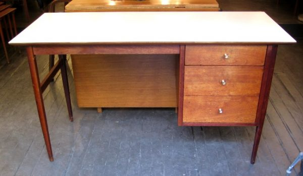 1960s Single Pedestal Walnut Desk