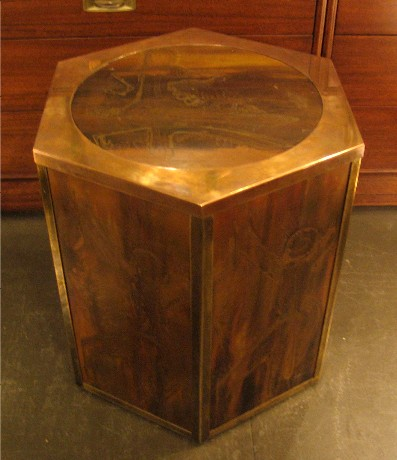 Acid Etched Brass Occassional Table by Mastercraft