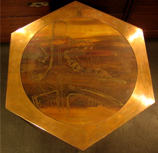 Acid Etched Brass Occassional Table by Mastercraftq