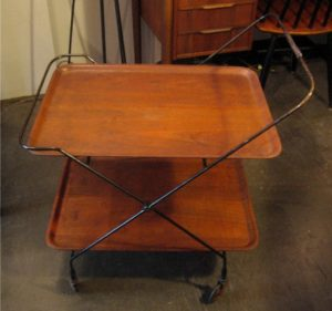 1960s Iron and Bent Teak Collapsable Bar/Tea Cart