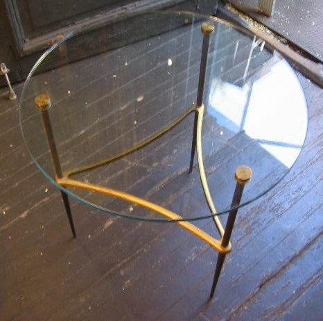 Brass and Glass Italian Side Table
