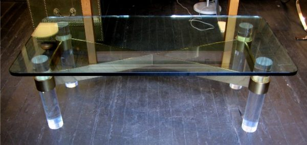 Brass Lucite Coffee Table in the Manner of Karl Springer