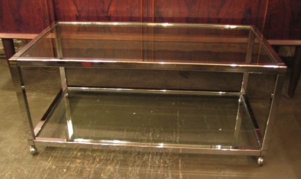 1970s Two Tier Chrome & Glass Coffee Table